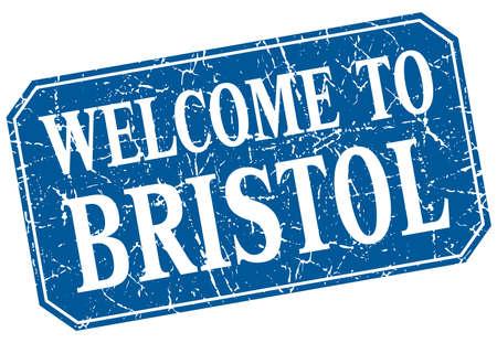 bristol: welcome to Bristol blue square grunge stamp Illustration