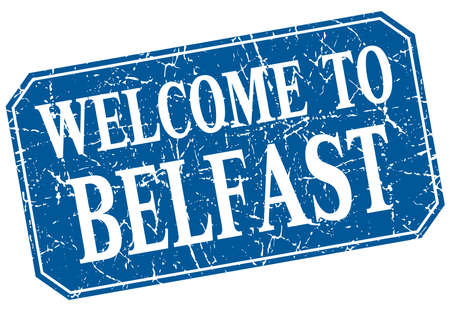 belfast: welcome to Belfast blue square grunge stamp