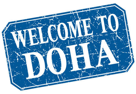 doha: welcome to Doha blue square grunge stamp