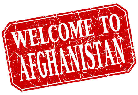 afghanistan: welcome to Afghanistan red square grunge stamp