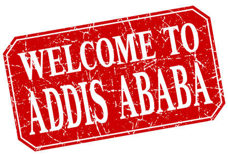 addis: welcome to Addis Ababa red square grunge stamp