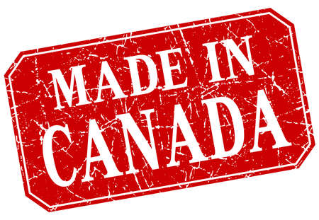 canada stamp: made in Canada red square grunge stamp