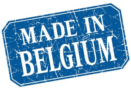 made in belgium: made in Belgium blue square grunge stamp Illustration
