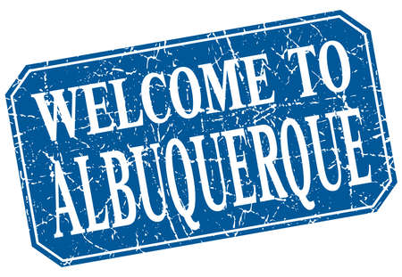 albuquerque: welcome to Albuquerque blue square grunge stamp Illustration