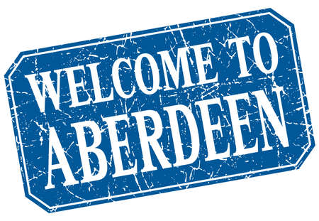 aberdeen: welcome to Aberdeen blue square grunge stamp