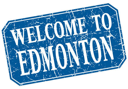edmonton: welcome to Edmonton blue square grunge stamp
