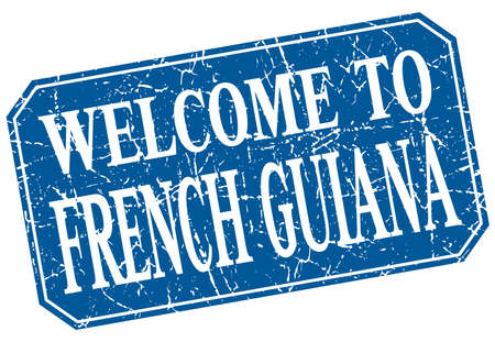 guiana: welcome to French Guiana blue square grunge stamp
