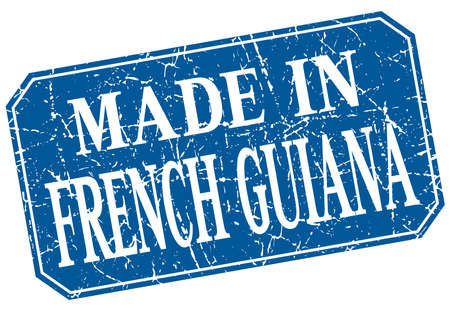 made in French Guiana blue square grunge stamp