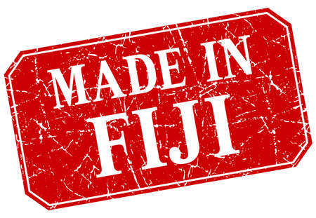 fiji: made in Fiji red square grunge stamp