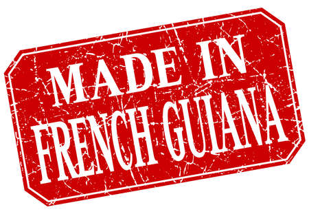 made in French Guiana red square grunge stamp
