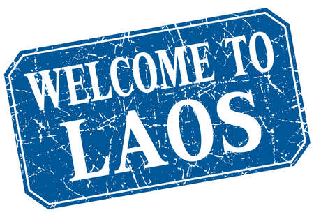 laos: welcome to Laos blue square grunge stamp Illustration