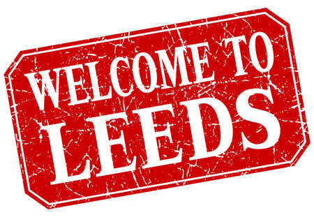 leeds: welcome to Leeds red square grunge stamp