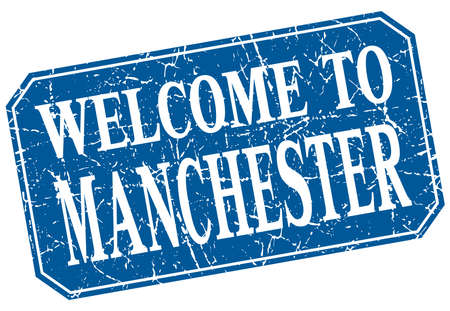 manchester: welcome to Manchester blue square grunge stamp Illustration