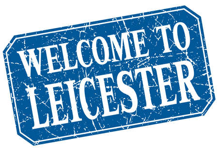 leicester: welcome to Leicester blue square grunge stamp