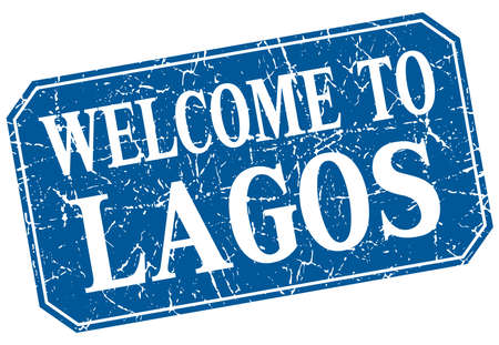 lagos: welcome to Lagos blue square grunge stamp Illustration