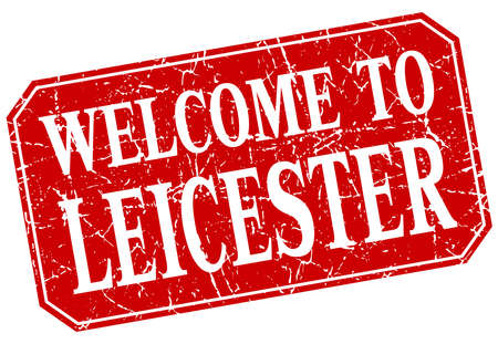 leicester: welcome to Leicester red square grunge stamp Illustration
