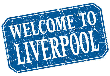 liverpool: welcome to Liverpool blue square grunge stamp Illustration