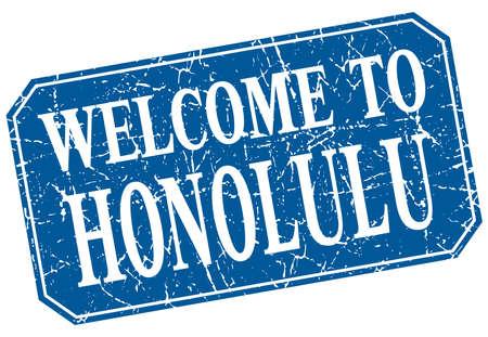honolulu: welcome to Honolulu blue square grunge stamp