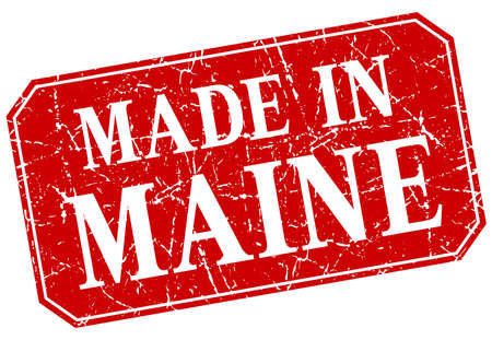 maine: made in Maine red square grunge stamp Illustration