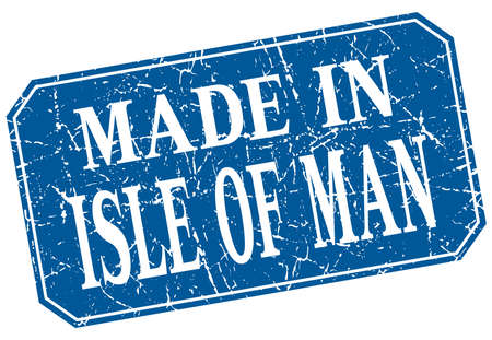 isles: made in Isle Of Man blue square grunge stamp