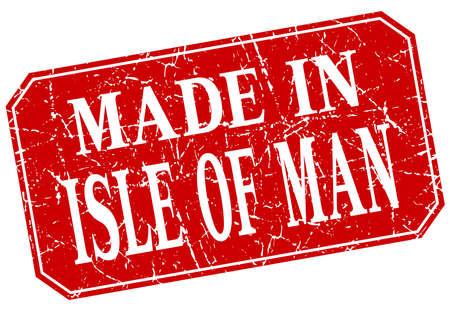 man made: made in Isle Of Man red square grunge stamp Illustration