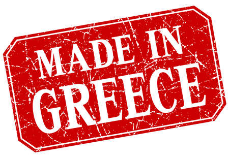 made in Greece red square grunge stamp