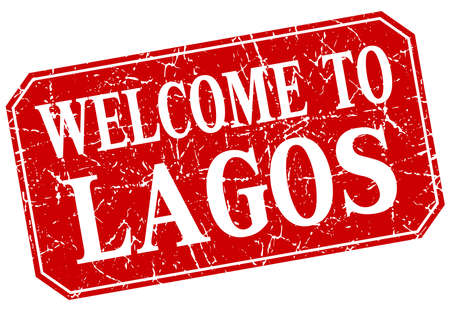 lagos: welcome to Lagos red square grunge stamp