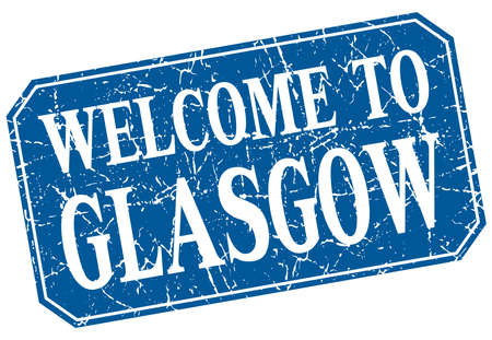 glasgow: welcome to Glasgow blue square grunge stamp
