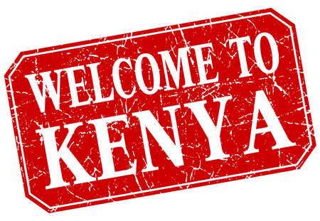 kenya: welcome to Kenya red square grunge stamp Illustration