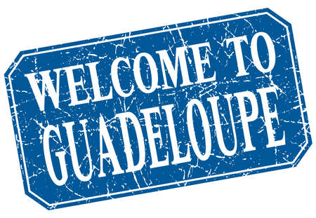 guadeloupe: welcome to Guadeloupe blue square grunge stamp