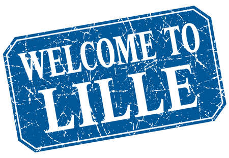 lille: welcome to Lille blue square grunge stamp Illustration
