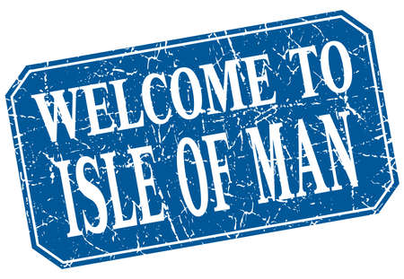 isle: welcome to Isle Of Man blue square grunge stamp