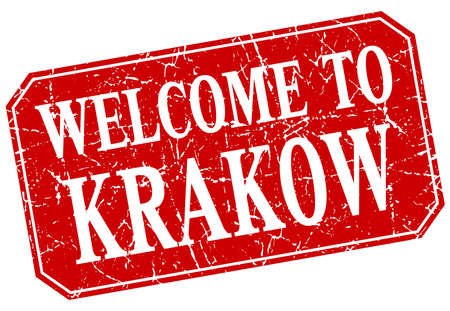 krakow: welcome to Krakow red square grunge stamp