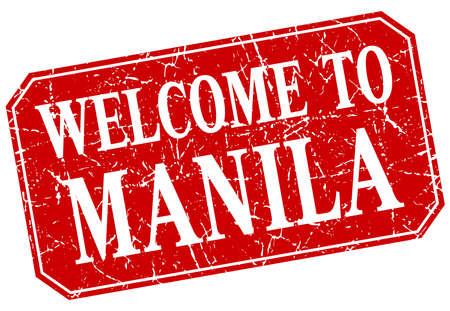 manila: welcome to Manila red square grunge stamp