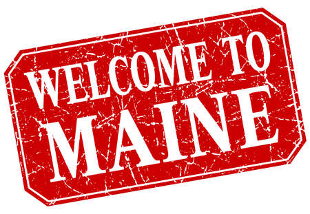 maine: welcome to Maine red square grunge stamp Illustration