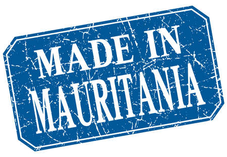 mauritania: made in Mauritania blue square grunge stamp