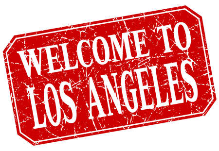 los angeles: welcome to Los Angeles red square grunge stamp