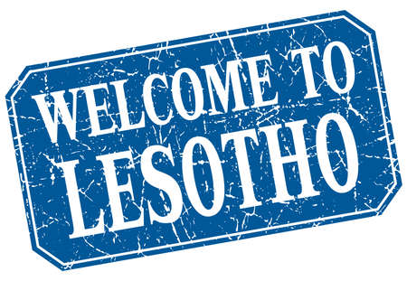 lesotho: welcome to Lesotho blue square grunge stamp
