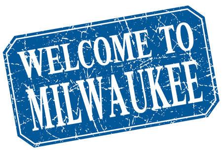 milwaukee: welcome to Milwaukee blue square grunge stamp Illustration