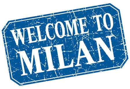 milan: welcome to Milan blue square grunge stamp Illustration