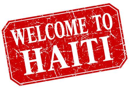 haiti: welcome to Haiti red square grunge stamp