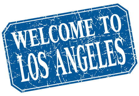 los: welcome to Los Angeles blue square grunge stamp