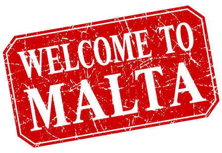 malta: welcome to Malta red square grunge stamp Illustration