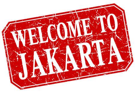 jakarta: welcome to Jakarta red square grunge stamp Illustration