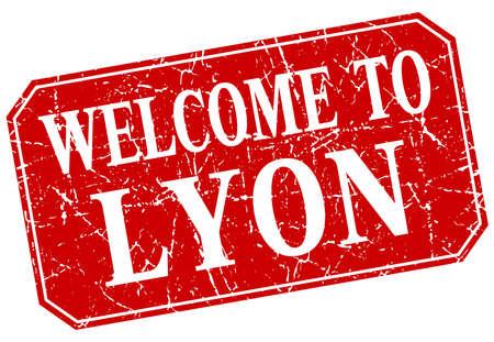 lyon: welcome to Lyon red square grunge stamp