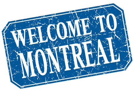 montreal: welcome to Montreal blue square grunge stamp
