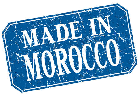 made in morocco: made in Morocco blue square grunge stamp