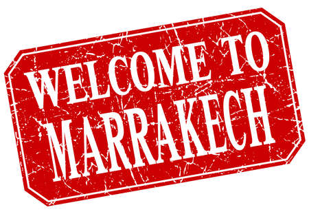 welcome to Marrakech red square grunge stamp
