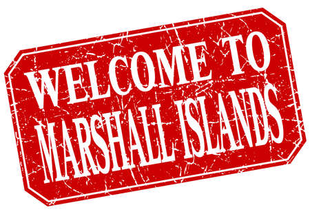 marshall: welcome to Marshall Islands red square grunge stamp