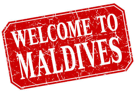 maldives: welcome to Maldives red square grunge stamp Illustration